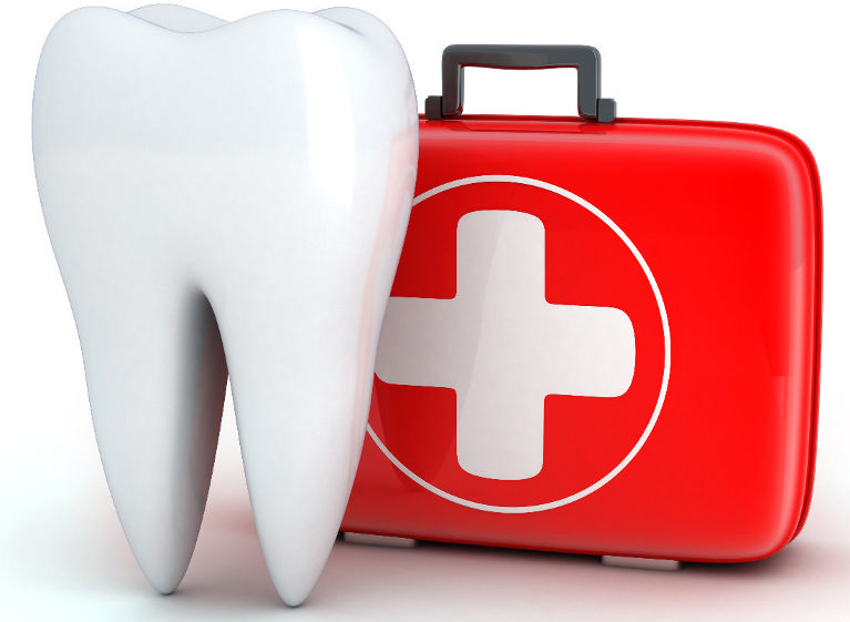 Illustration of tooth next to first aid kit | Dentist Calgary AB