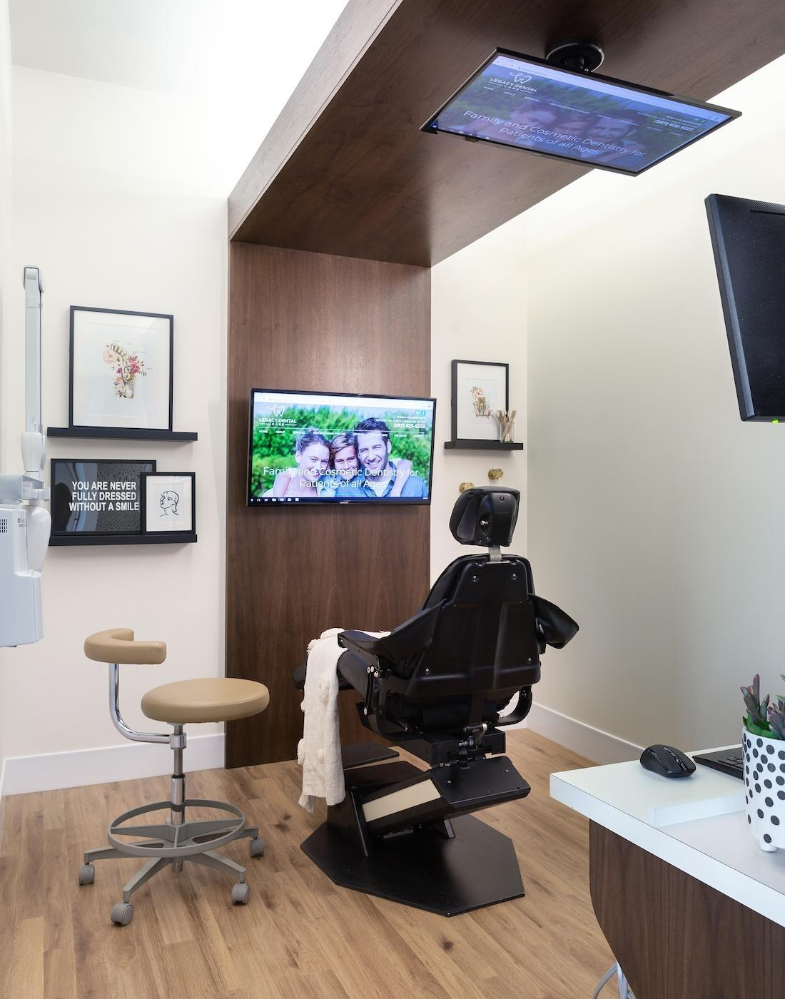 Dental Exam Rooms with Televisions | Legacy Dental Care